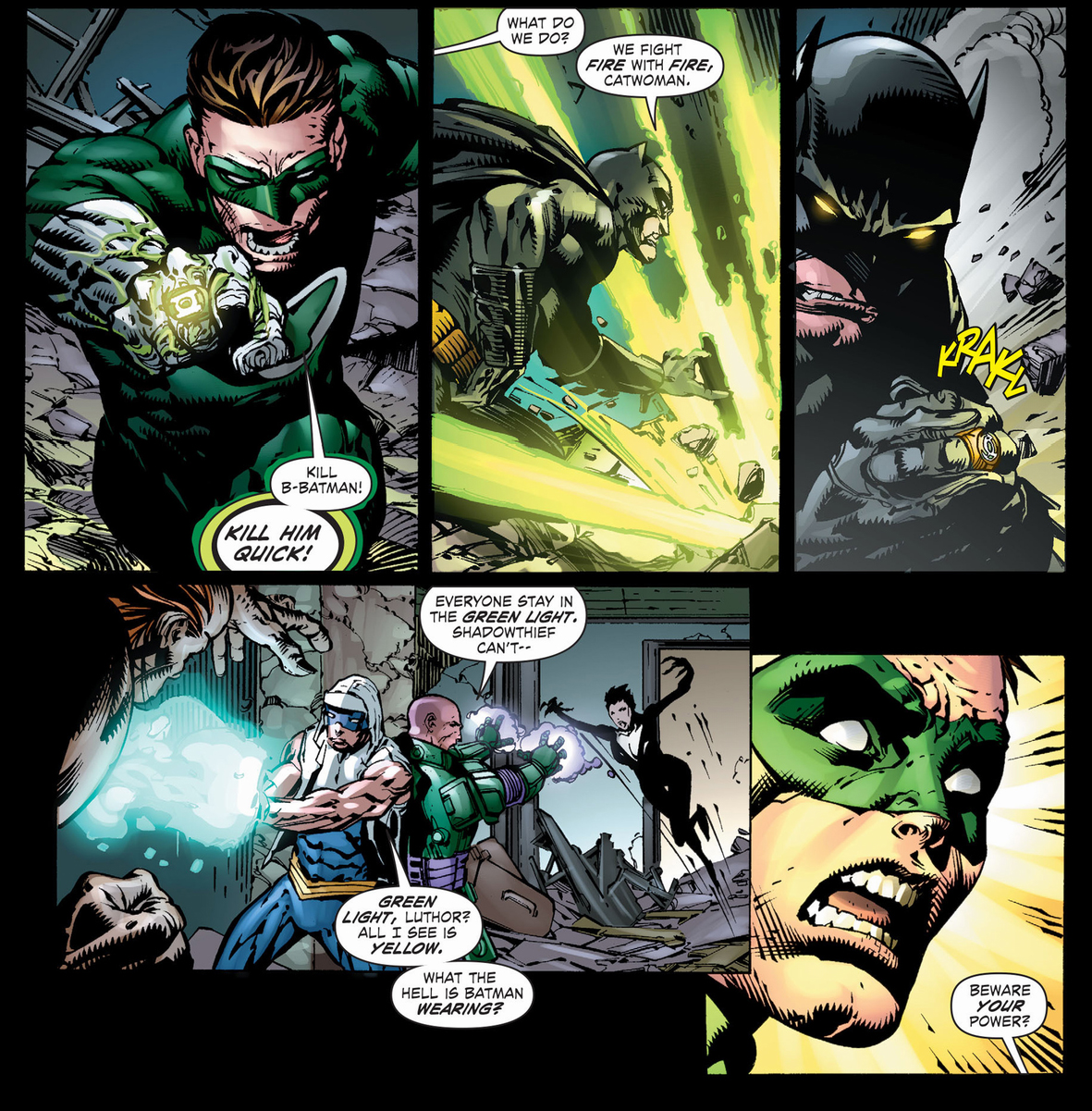 batman with a sinestro corps ring