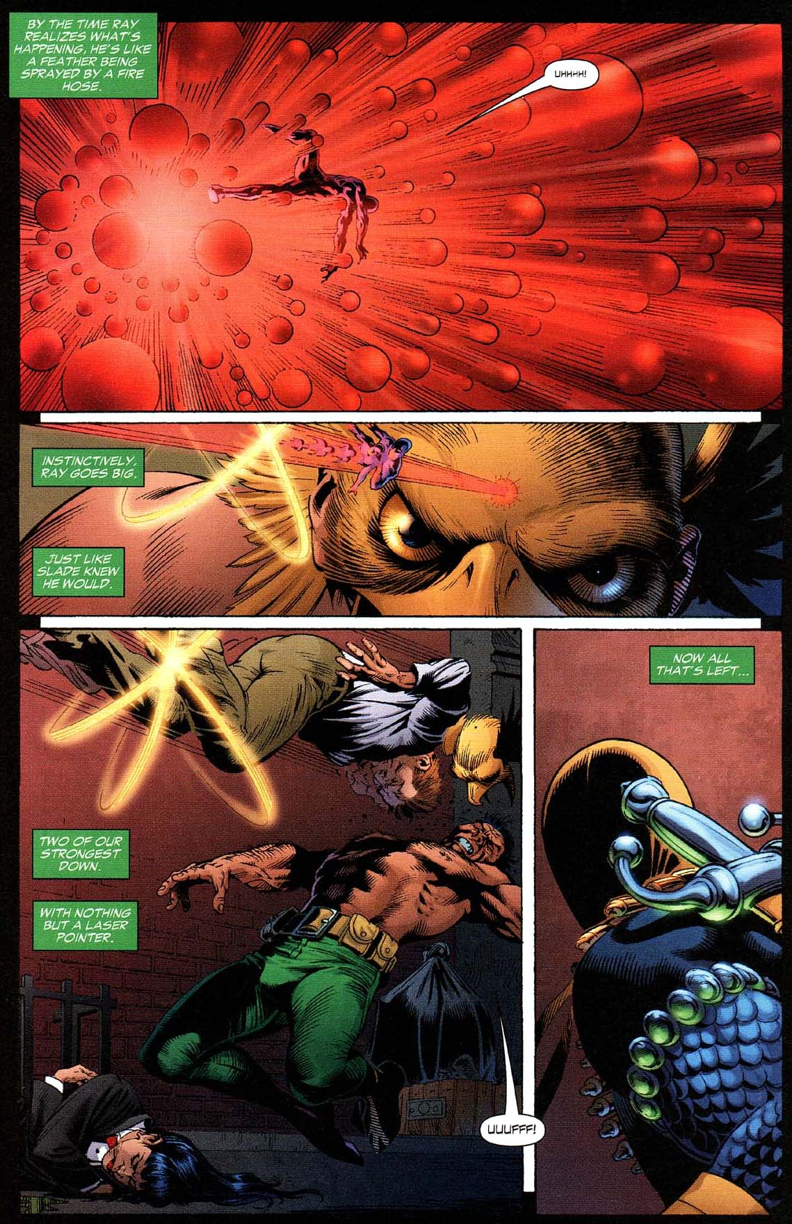 Deathstroke takes down hawkman and the atom 3