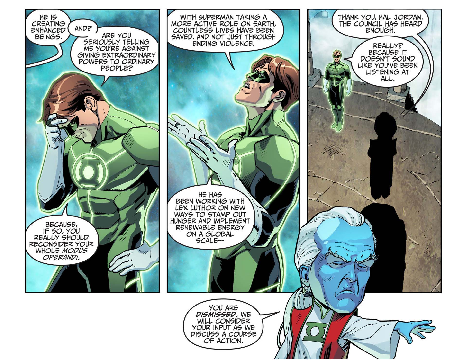 hal jordan defends superman from the guardians 3