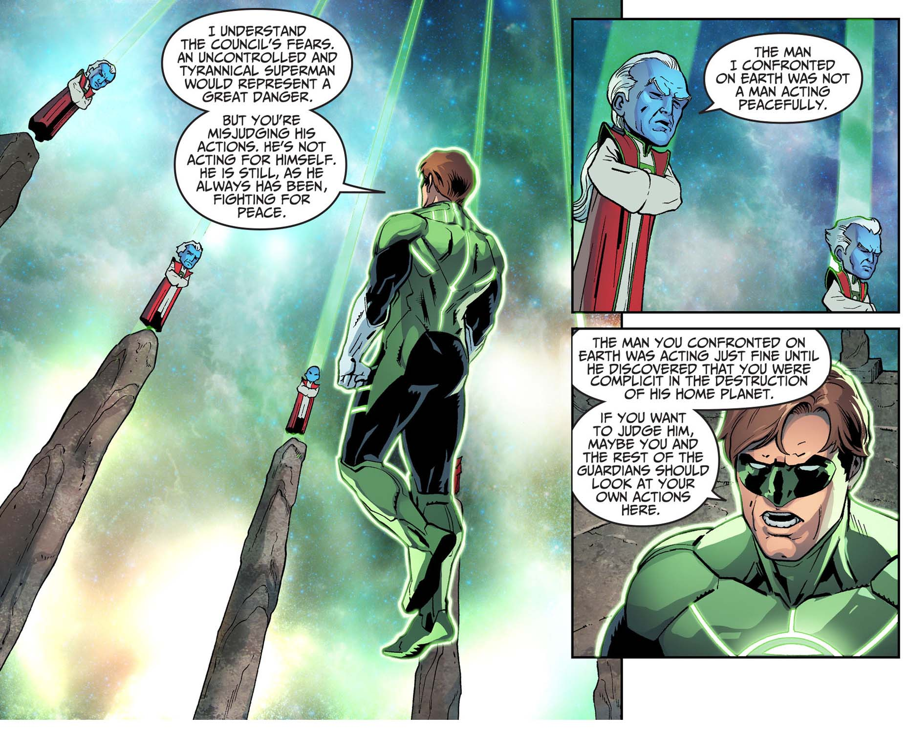hal jordan defends superman from the guardians