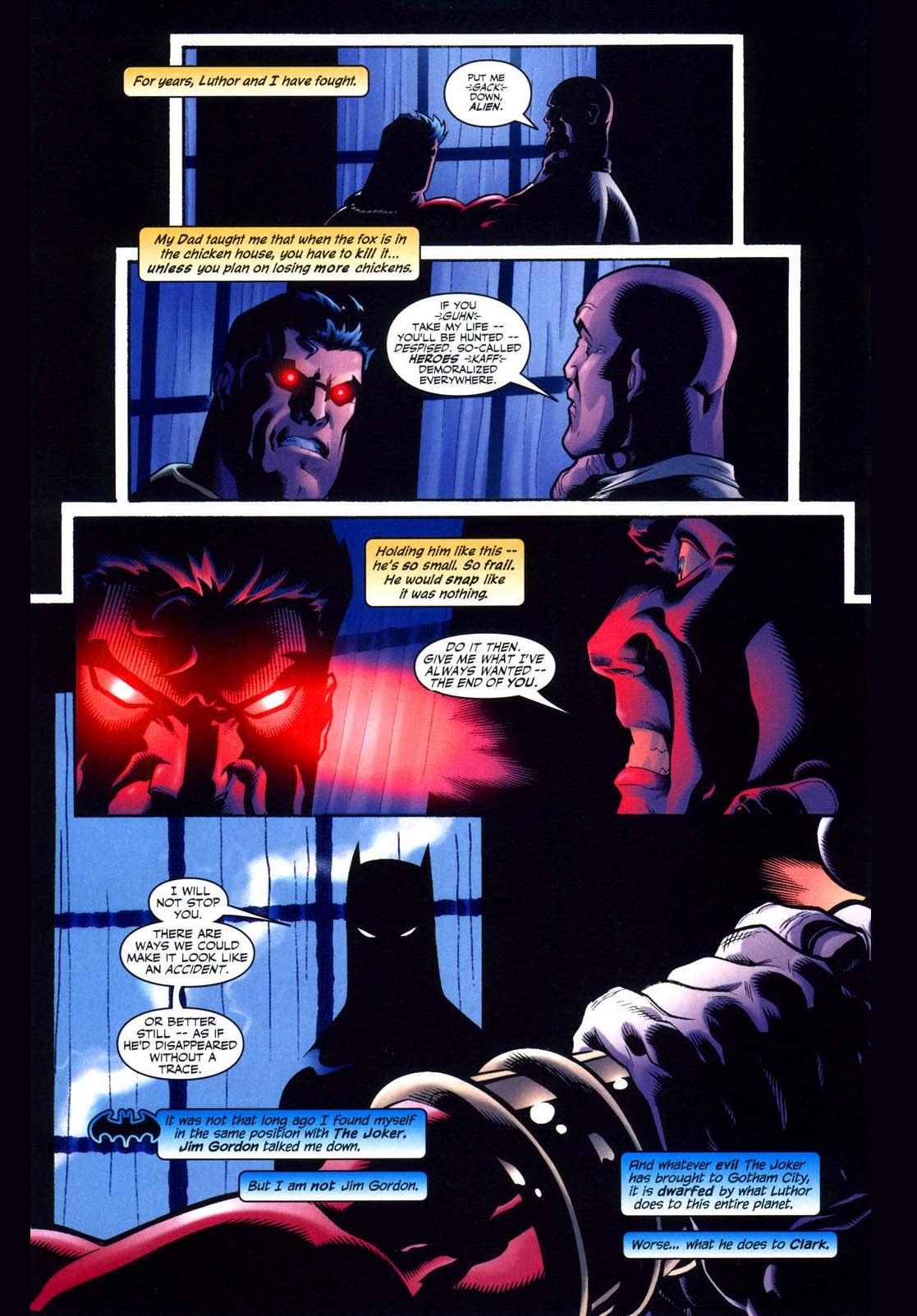 batman wants superman to kill luthor