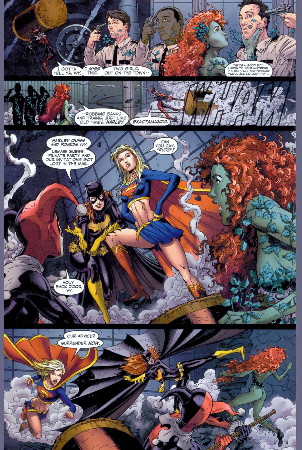 supergirl and batgirl vs harley quinn and poison ivy