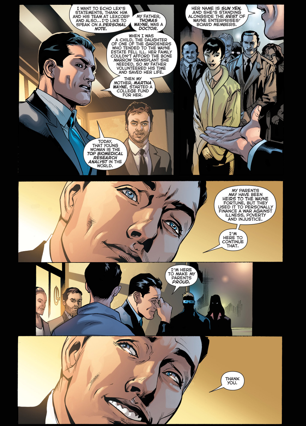 bruce wayne outdoes lex luthor in speech