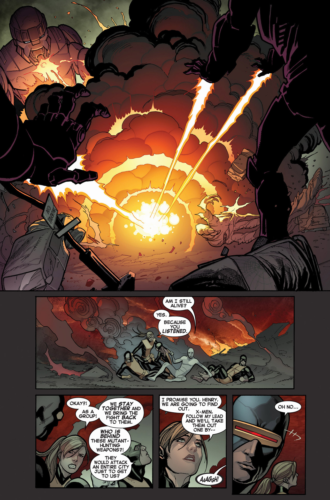 original 5 x-men attacked by sentinels