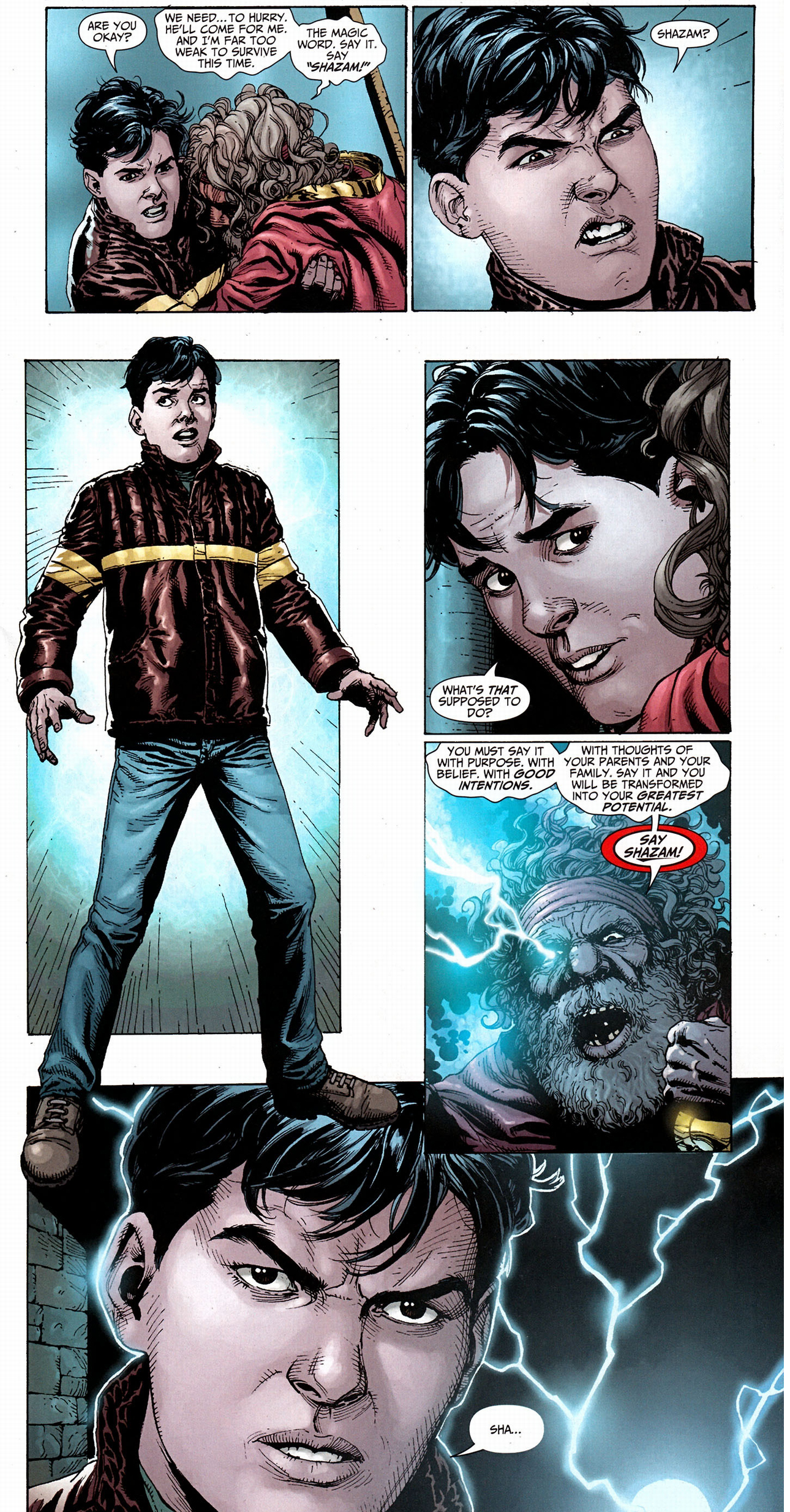 billy batson transforms into shazam for the first time