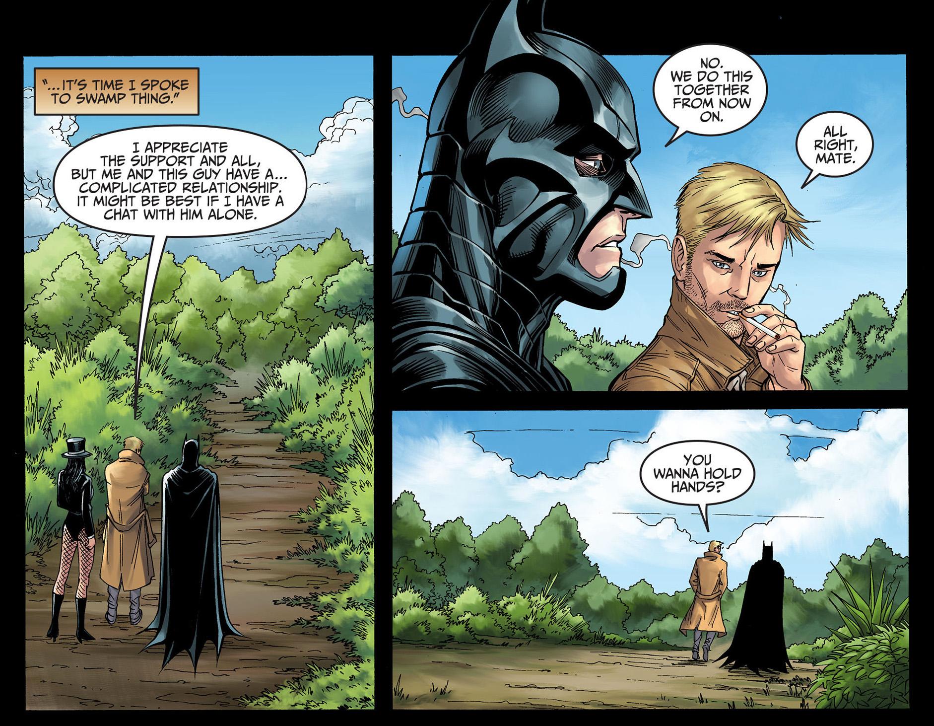 constantine wants to hold batman's hands