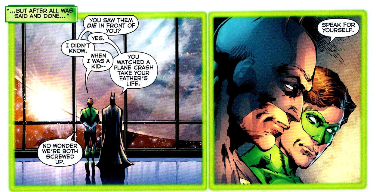 hal jordan and batman talks about their parents