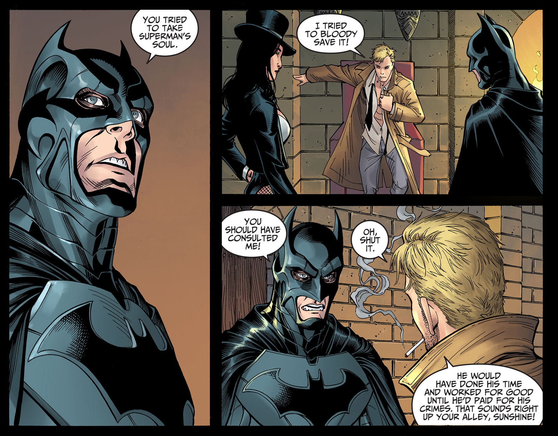 zatanna makes batman and constantine shut up