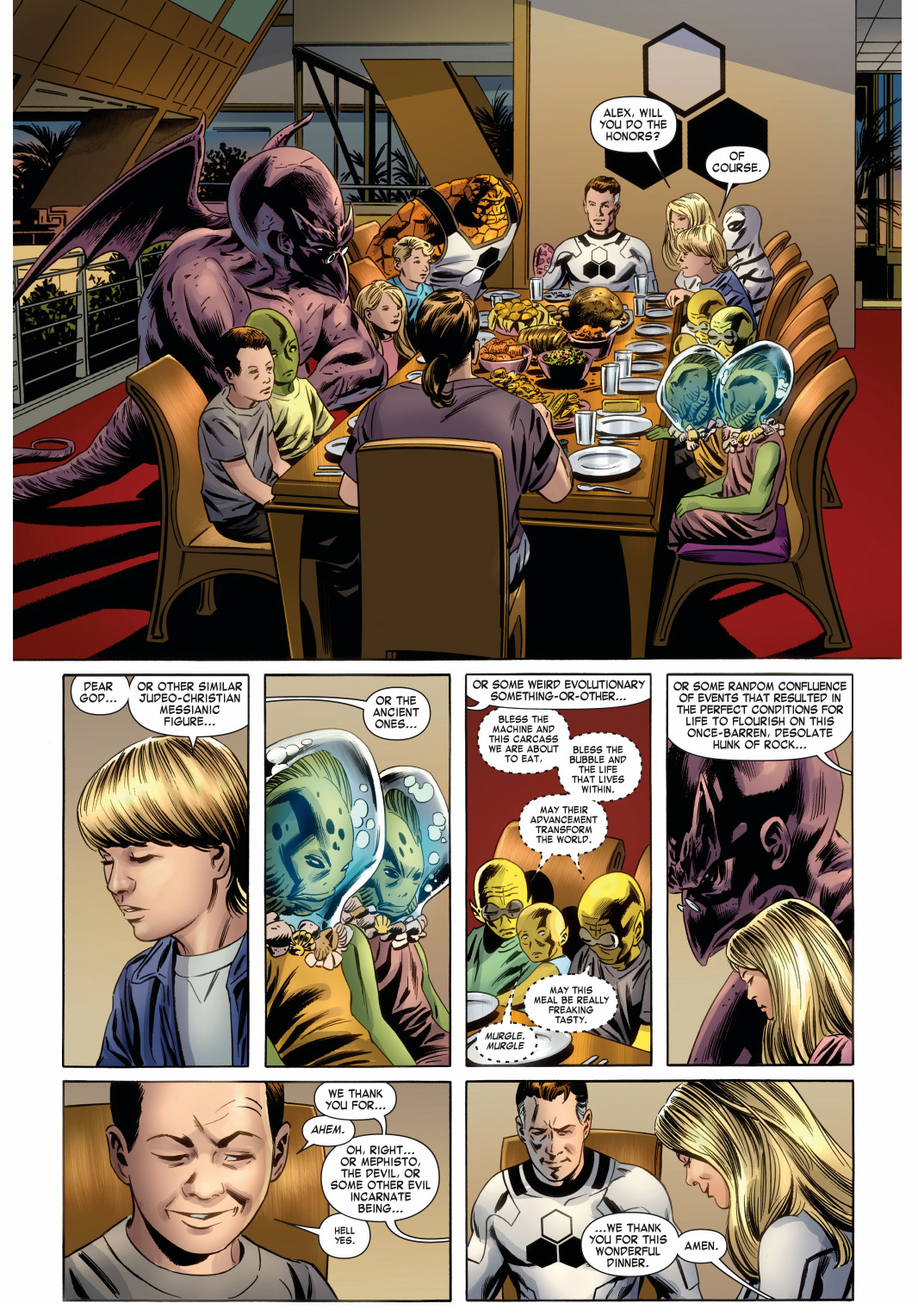 saying grace at the fantastic four table