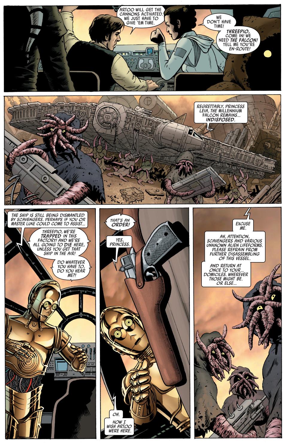 C-3PO defends the milennium falcon