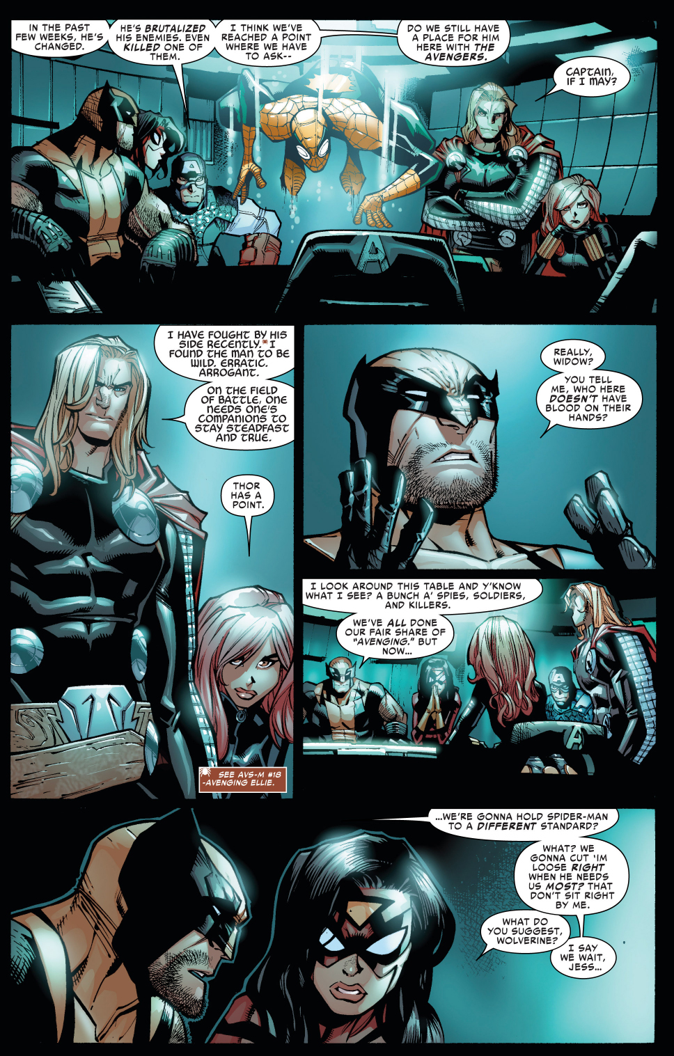 wolverine defends superior spider-man from the avengers