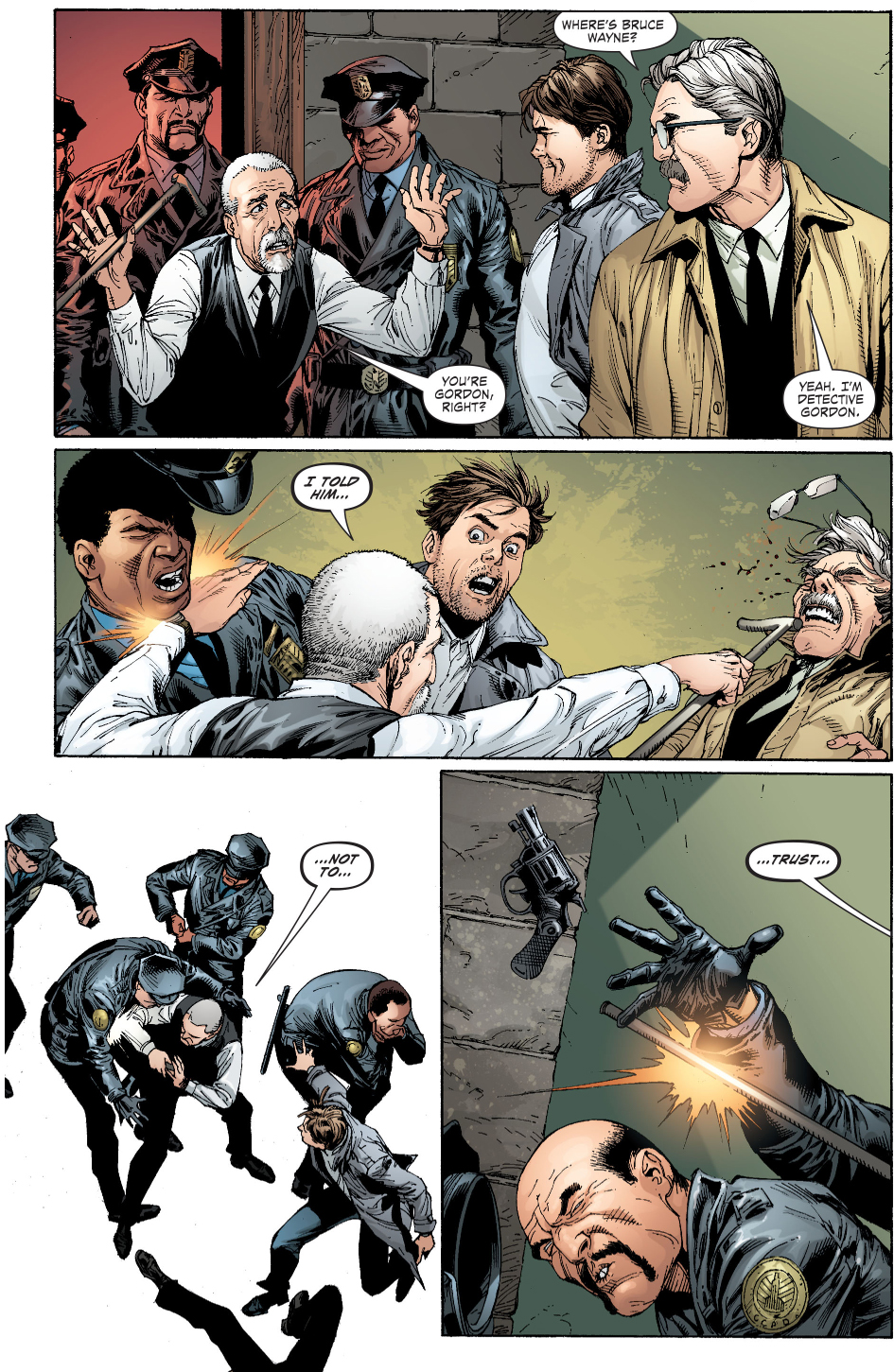 alfred pennyworth vs jim gordon and gotham pd (earth 1)