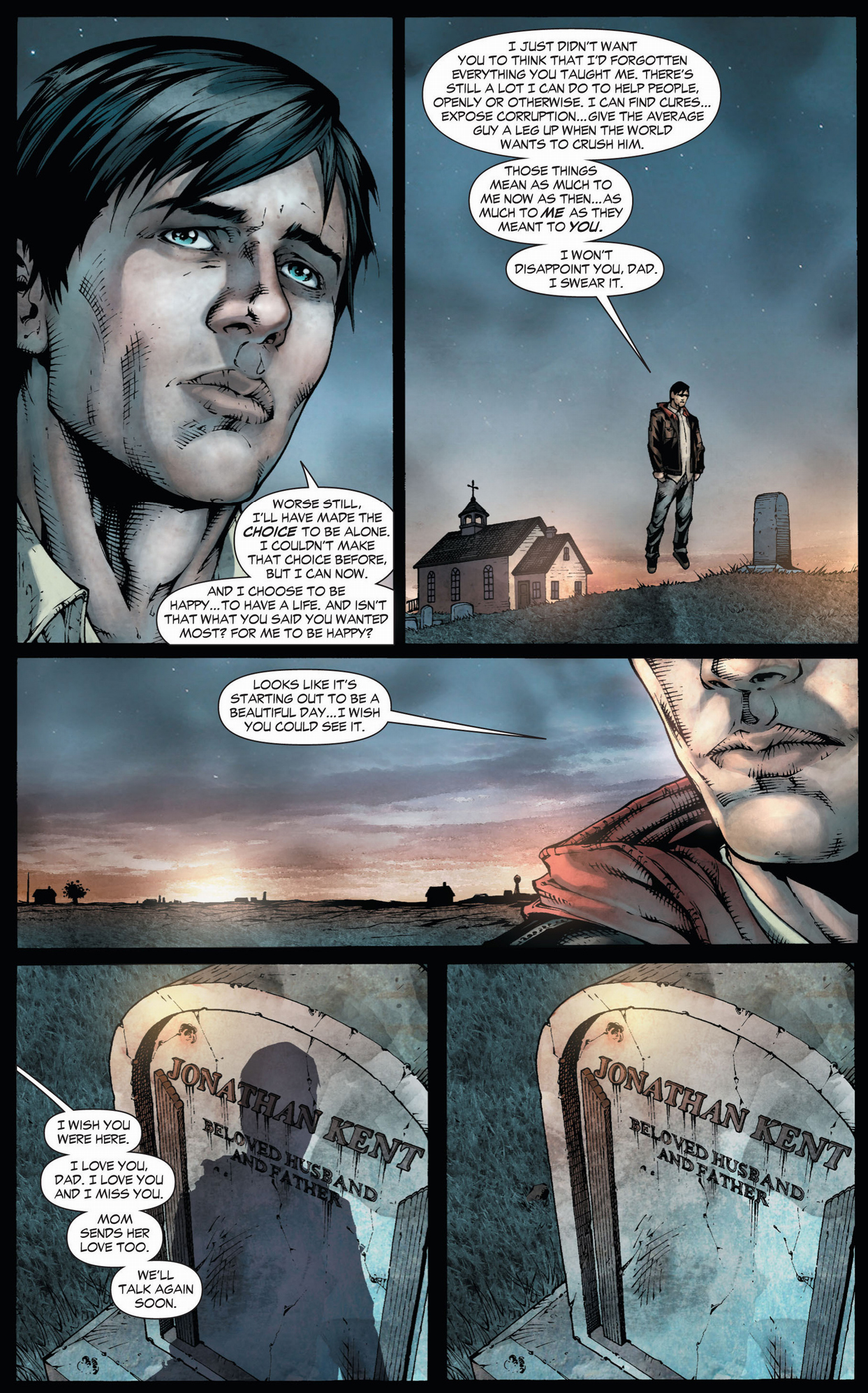 clark kent visits his father's grave (earth 1)