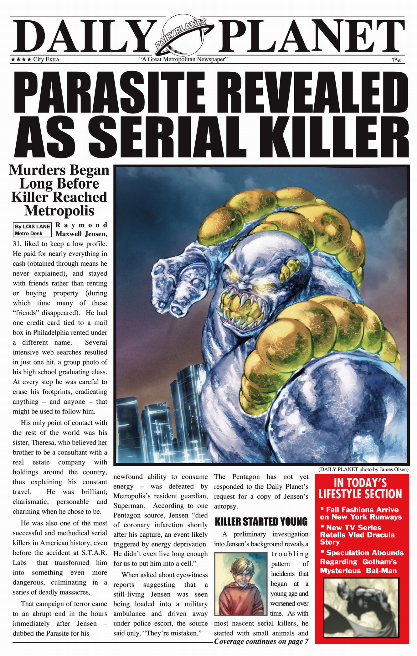 lois lane's article on the parasite (earth 1)