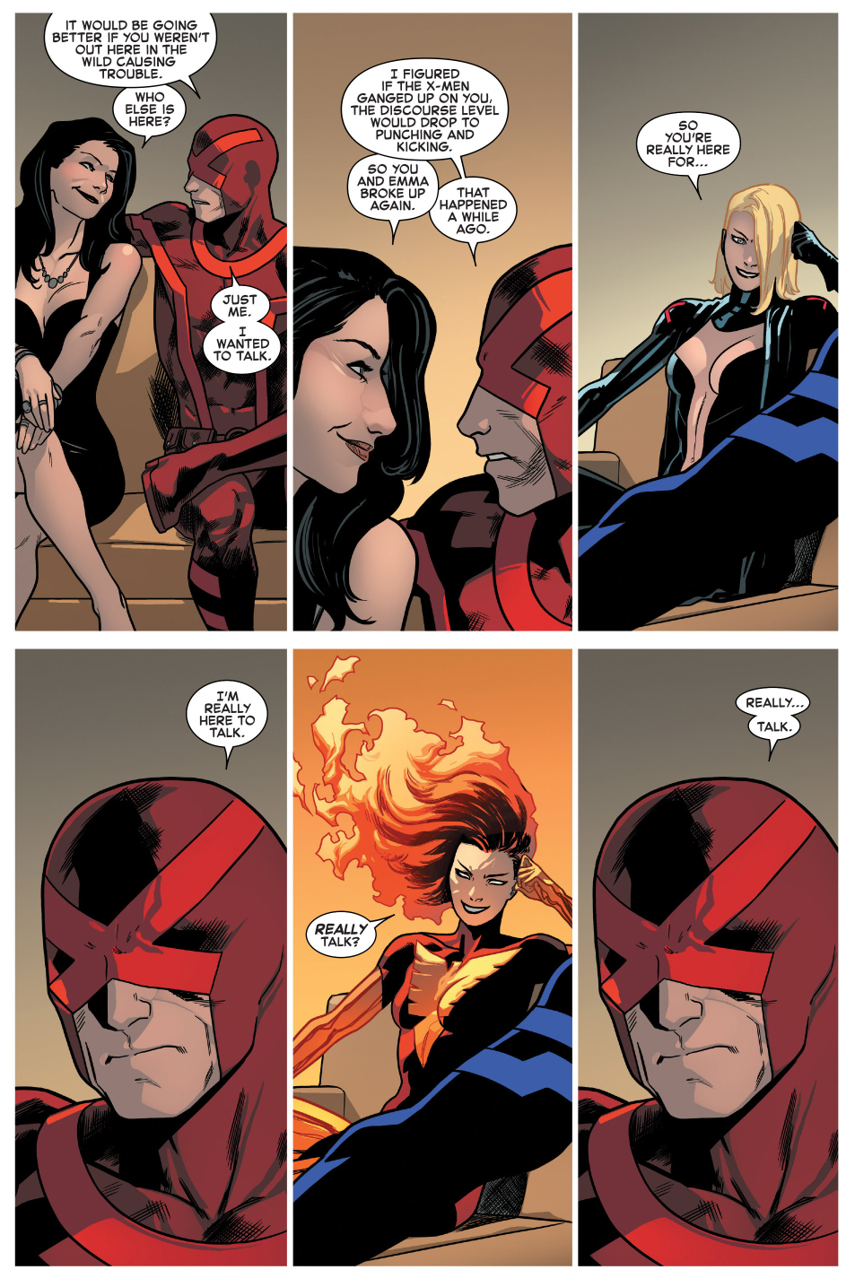 mystique tries to unsettle cyclops