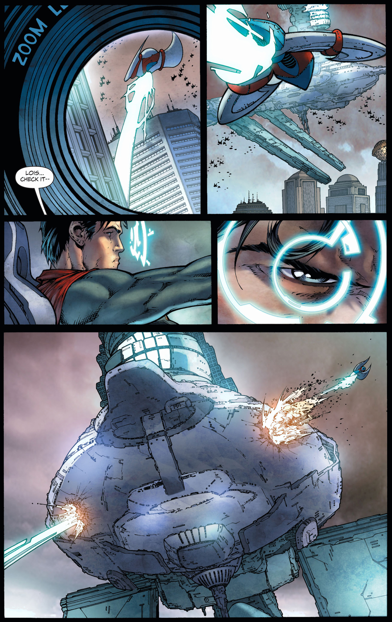 superman destroys tyrell's ship (earth 1)
