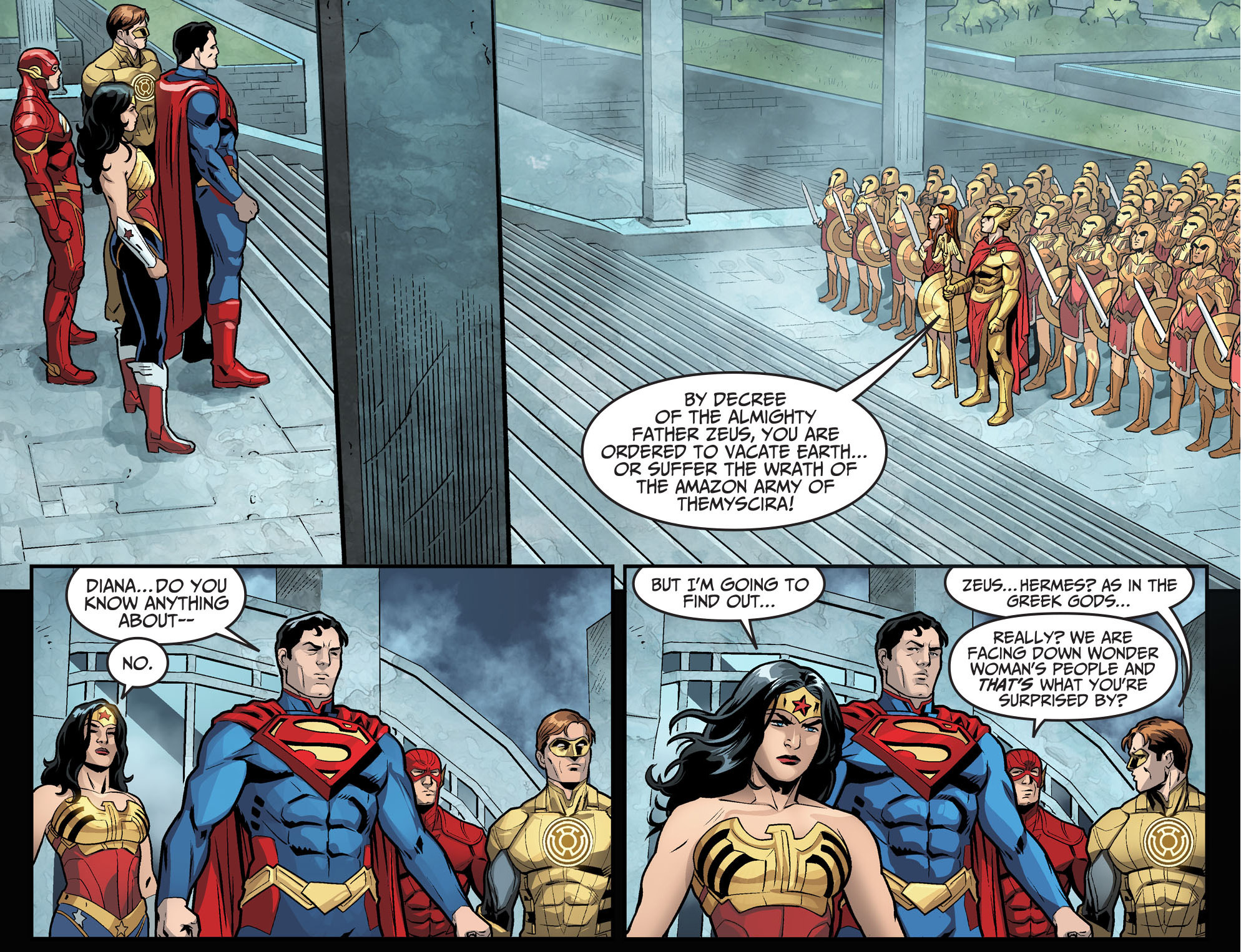 amazon army standoff with superman's team