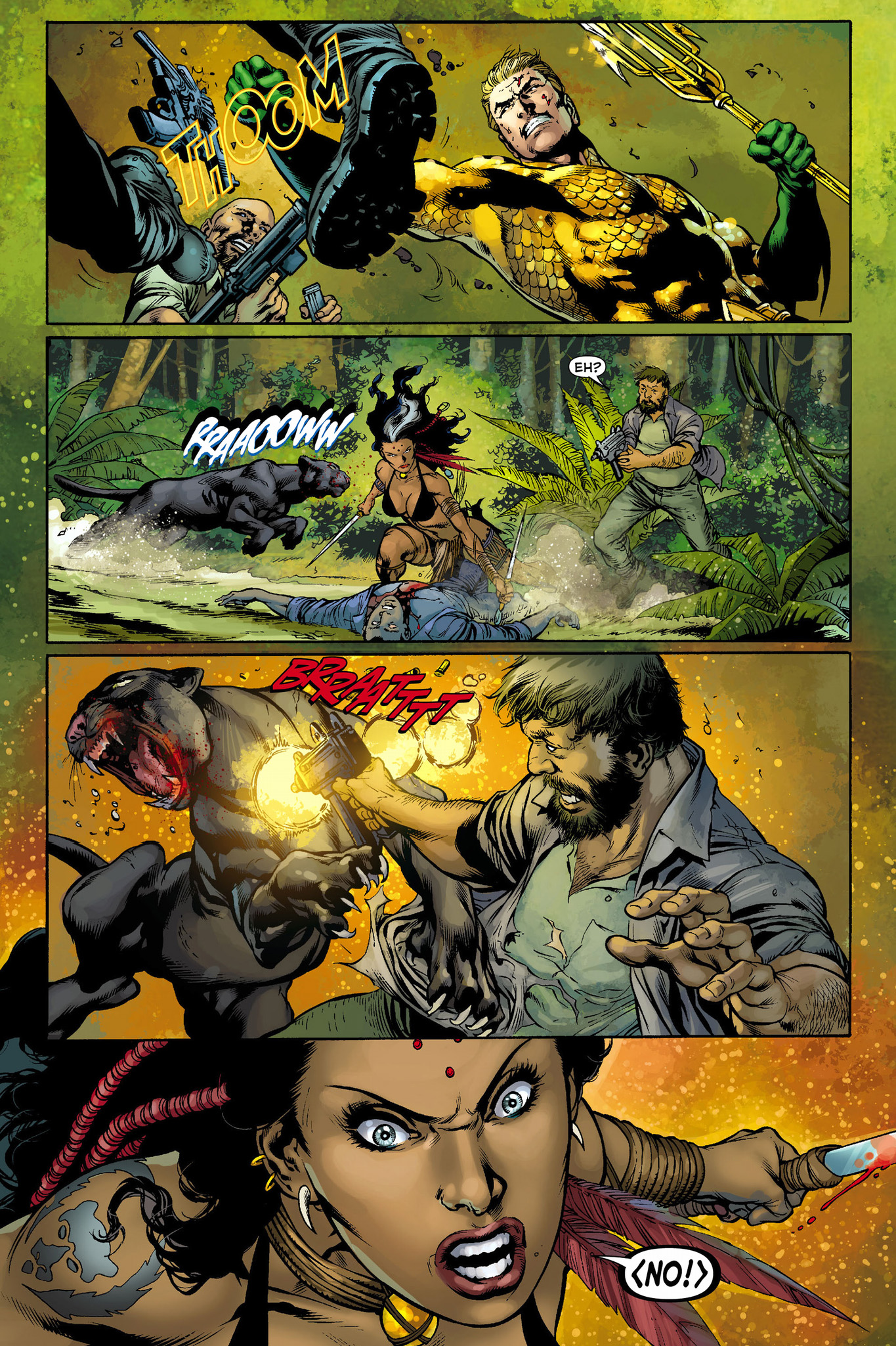 aquaman and ya'wara vs black manta's thugs