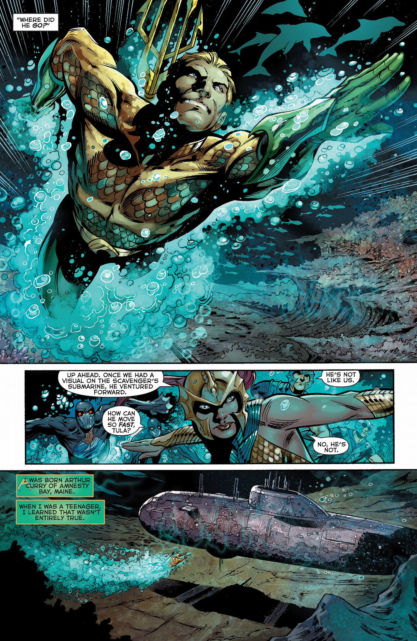 aquaman destroys a submarine