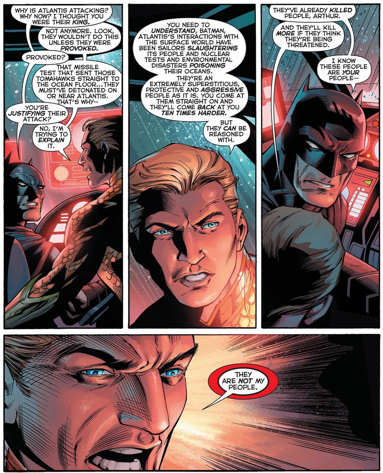 aquaman explains how atlanteans think to batman