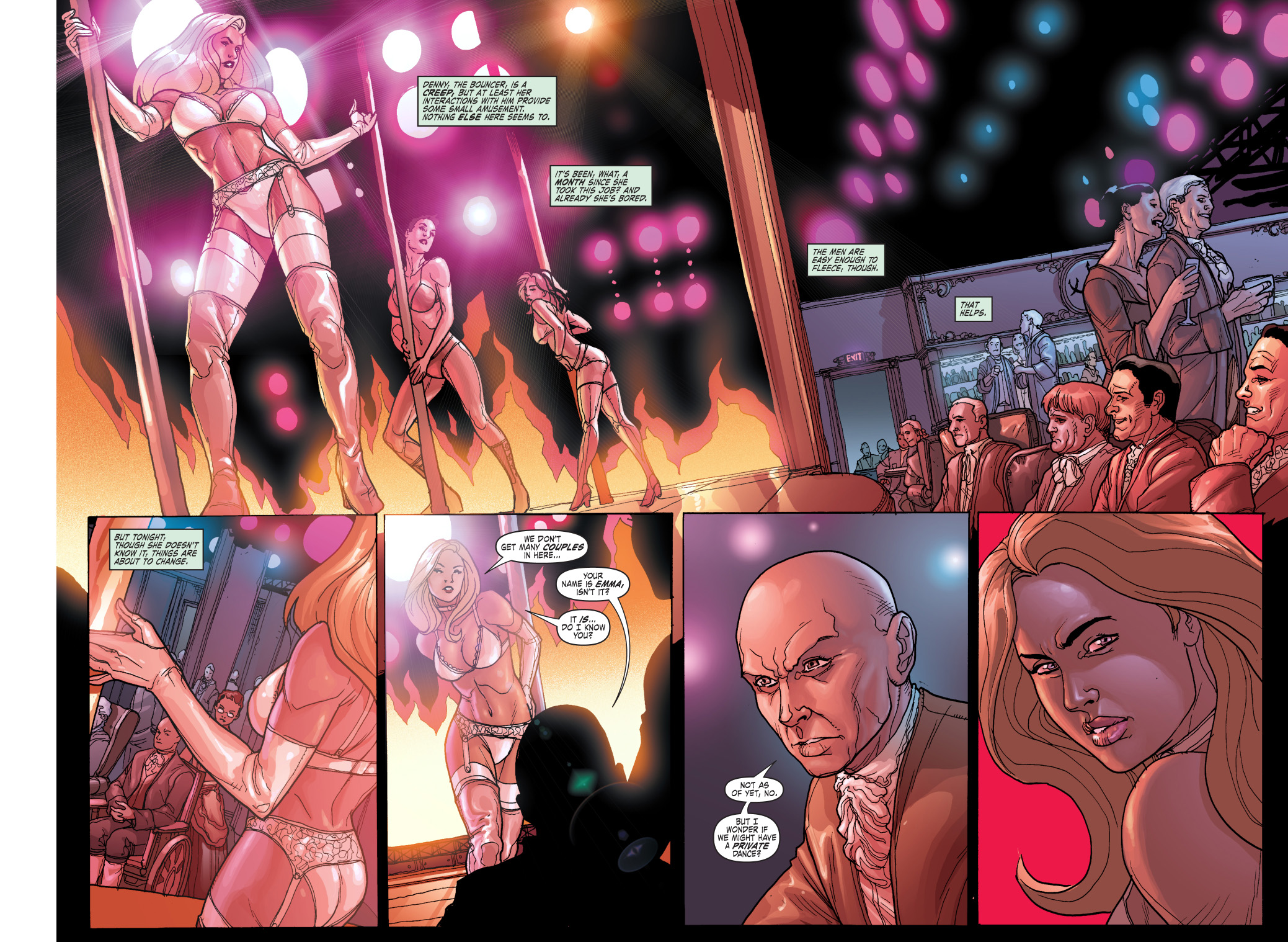 emma frost as an exotic dancer