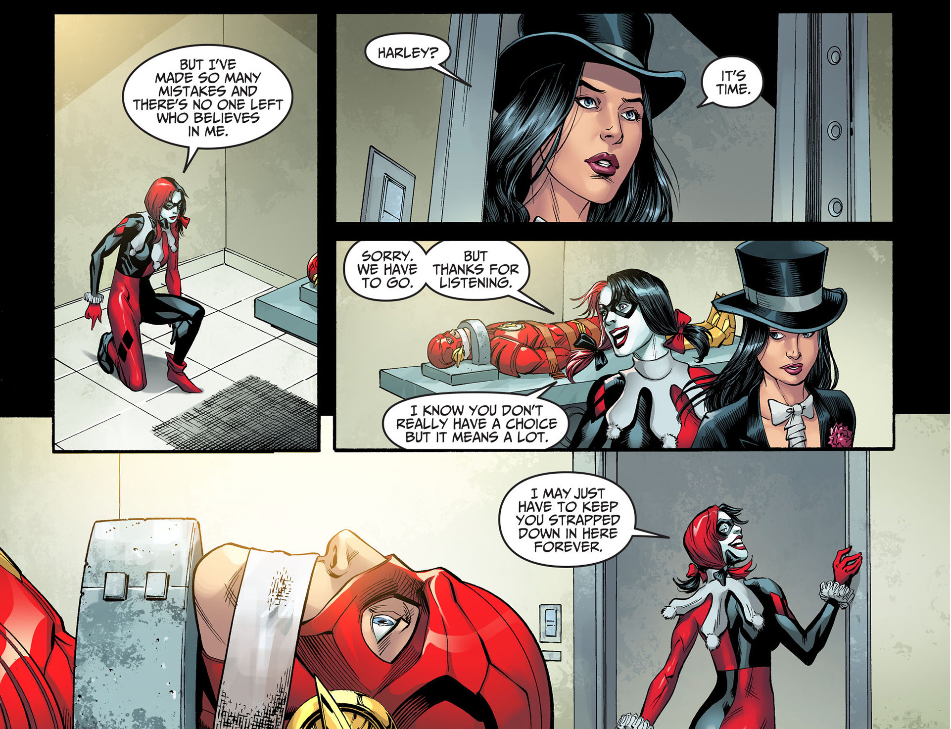 harley quinn tries to bond with the flash