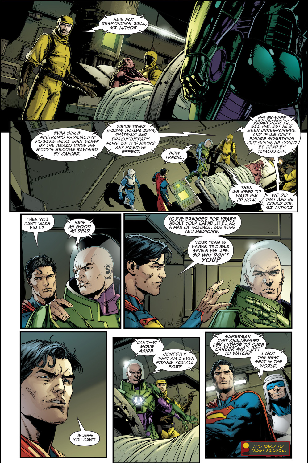 superman challenges lex luthor to cure cancer