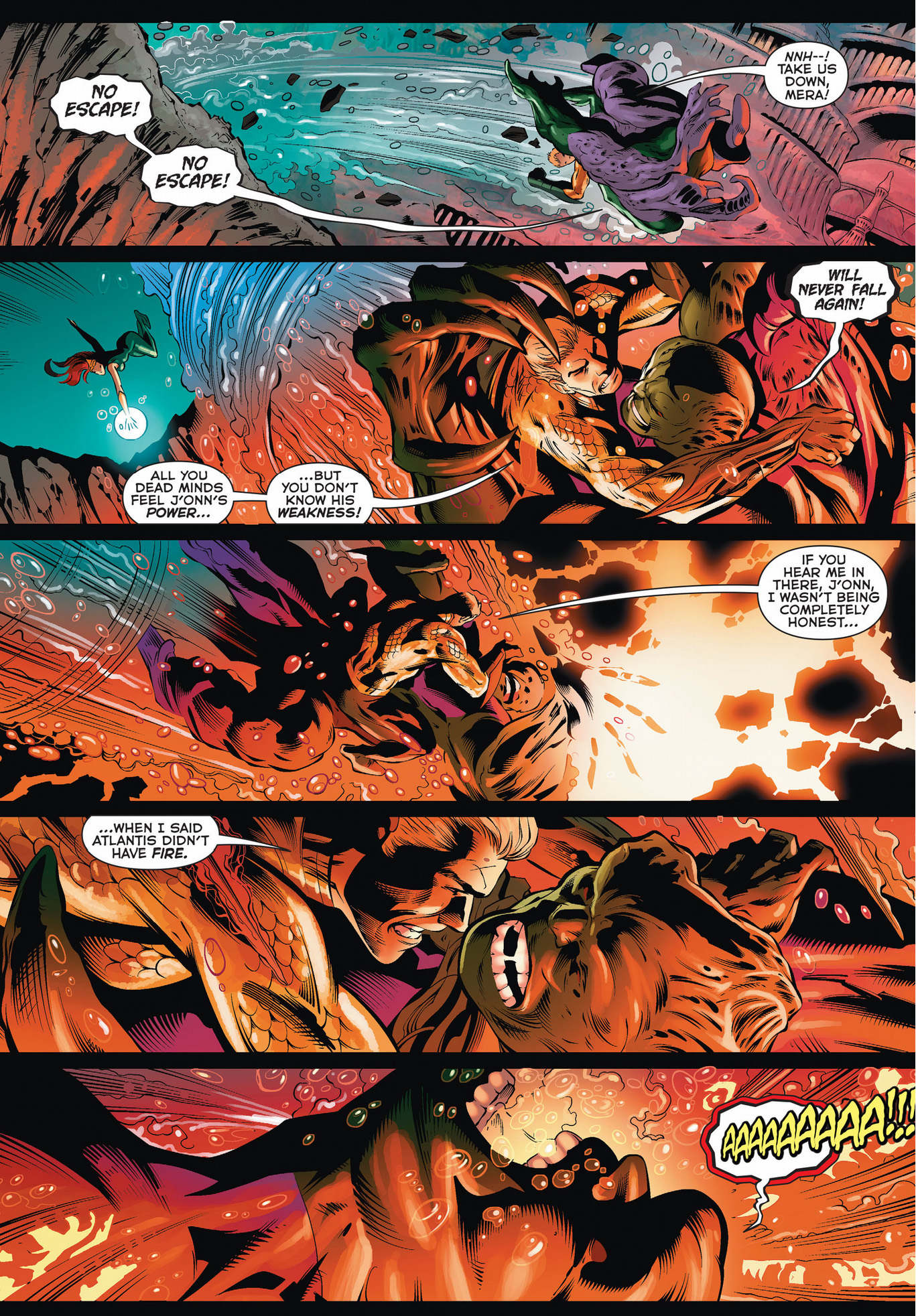 aquaman and mera tries to subdue martian manhunter