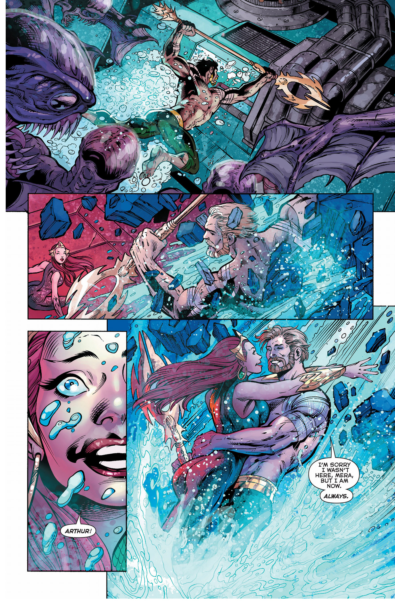 aquaman leads the trench against the dead king