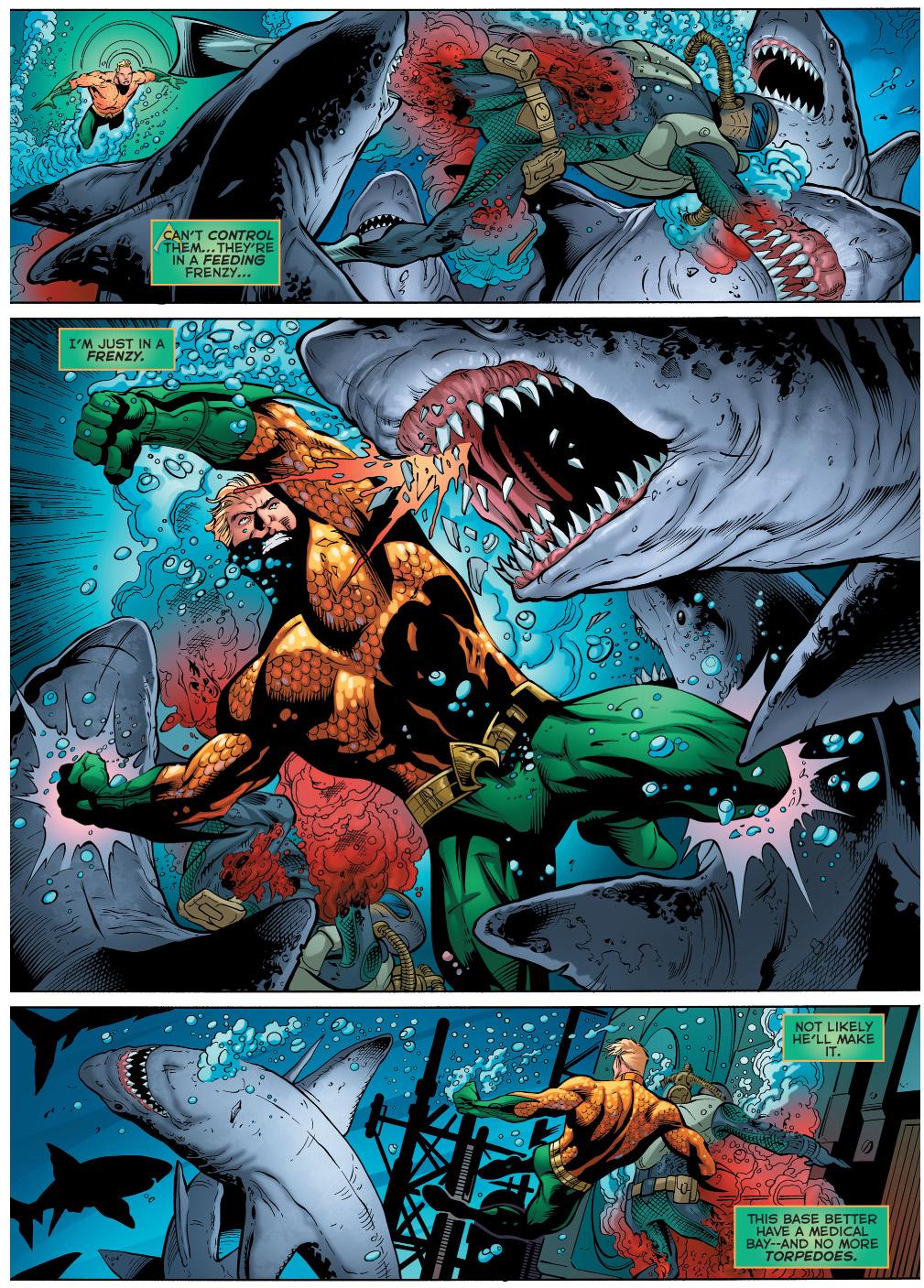 aquaman stops a shark attack