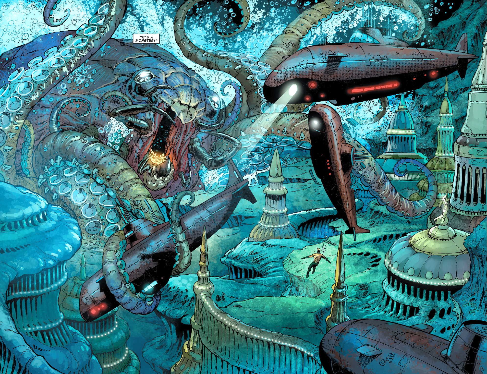 aquaman uses topo to attack the scavenger's fleet