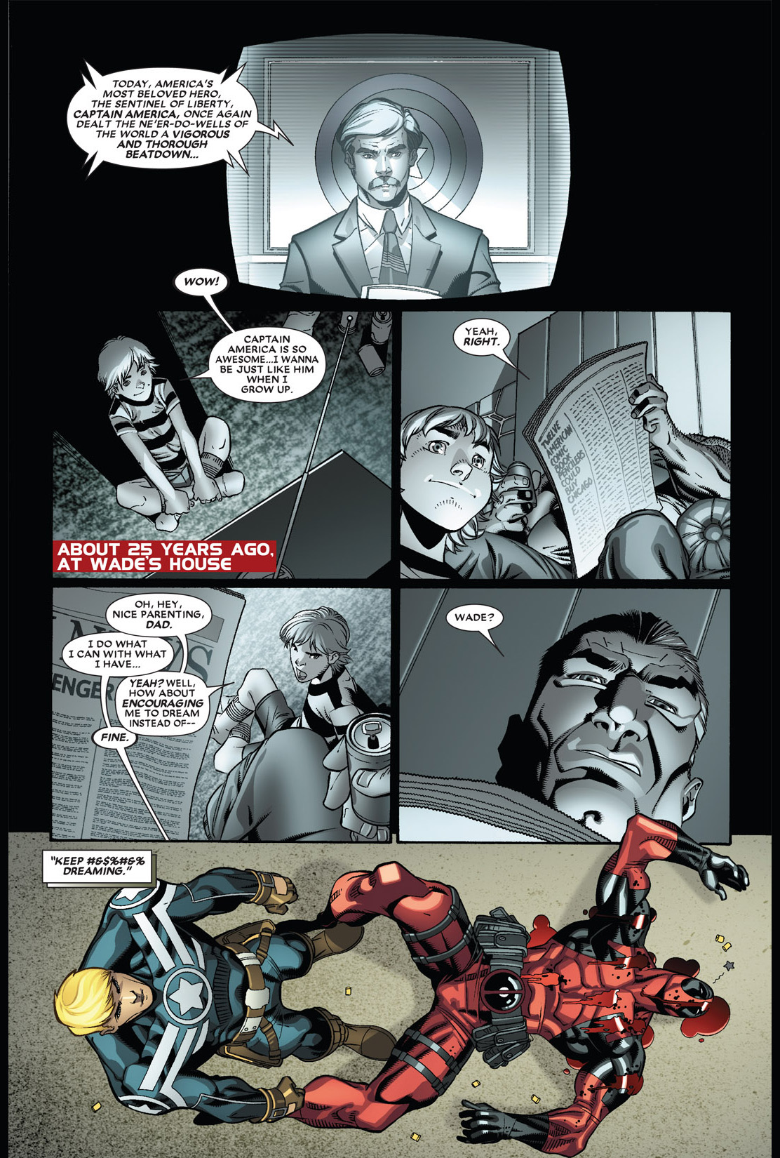 captain america punches deadpool