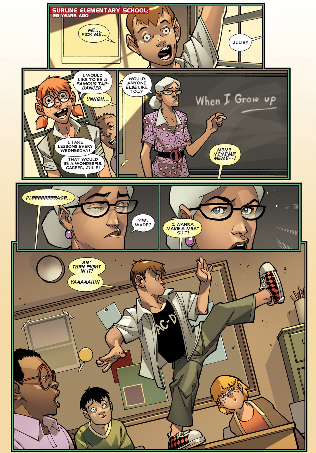 deadpool and dark avenger hawkeye's school flashback