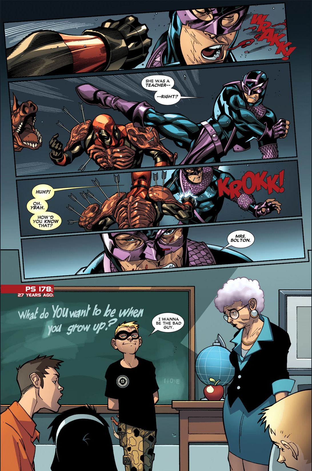 deadpool and dark avenger hawkeye's school flashback