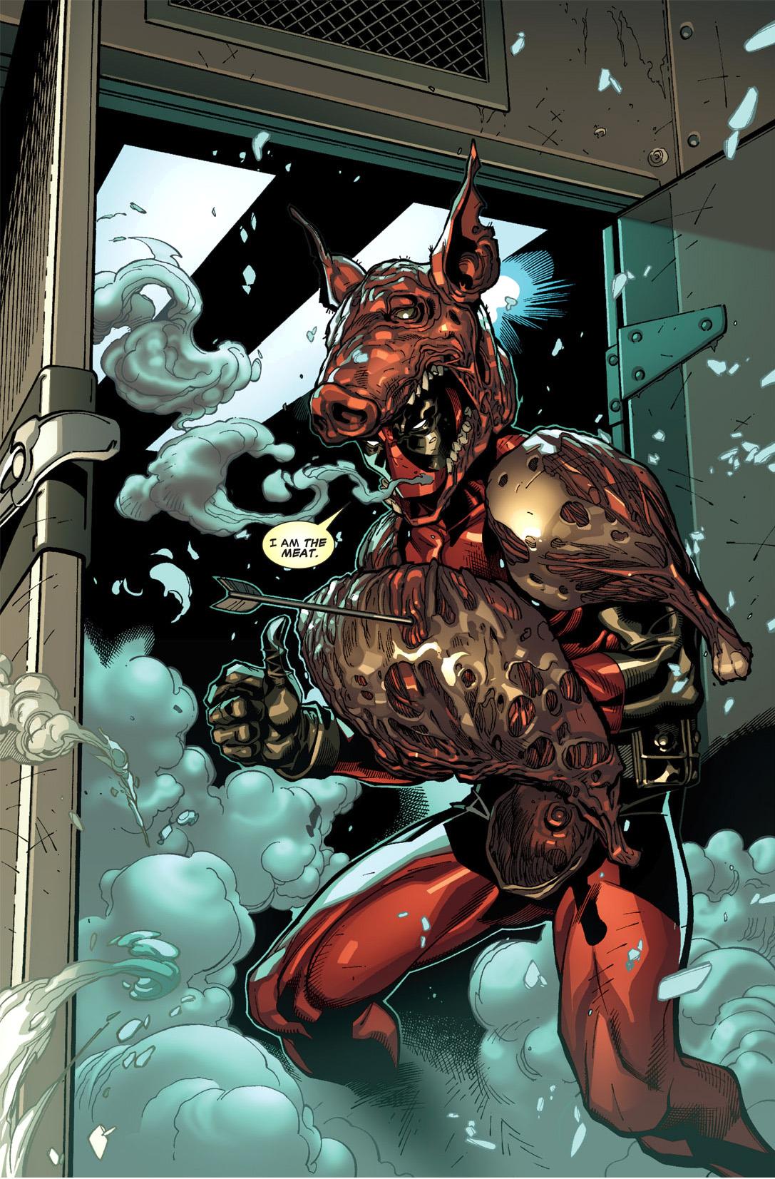 deadpool dons the meat armor