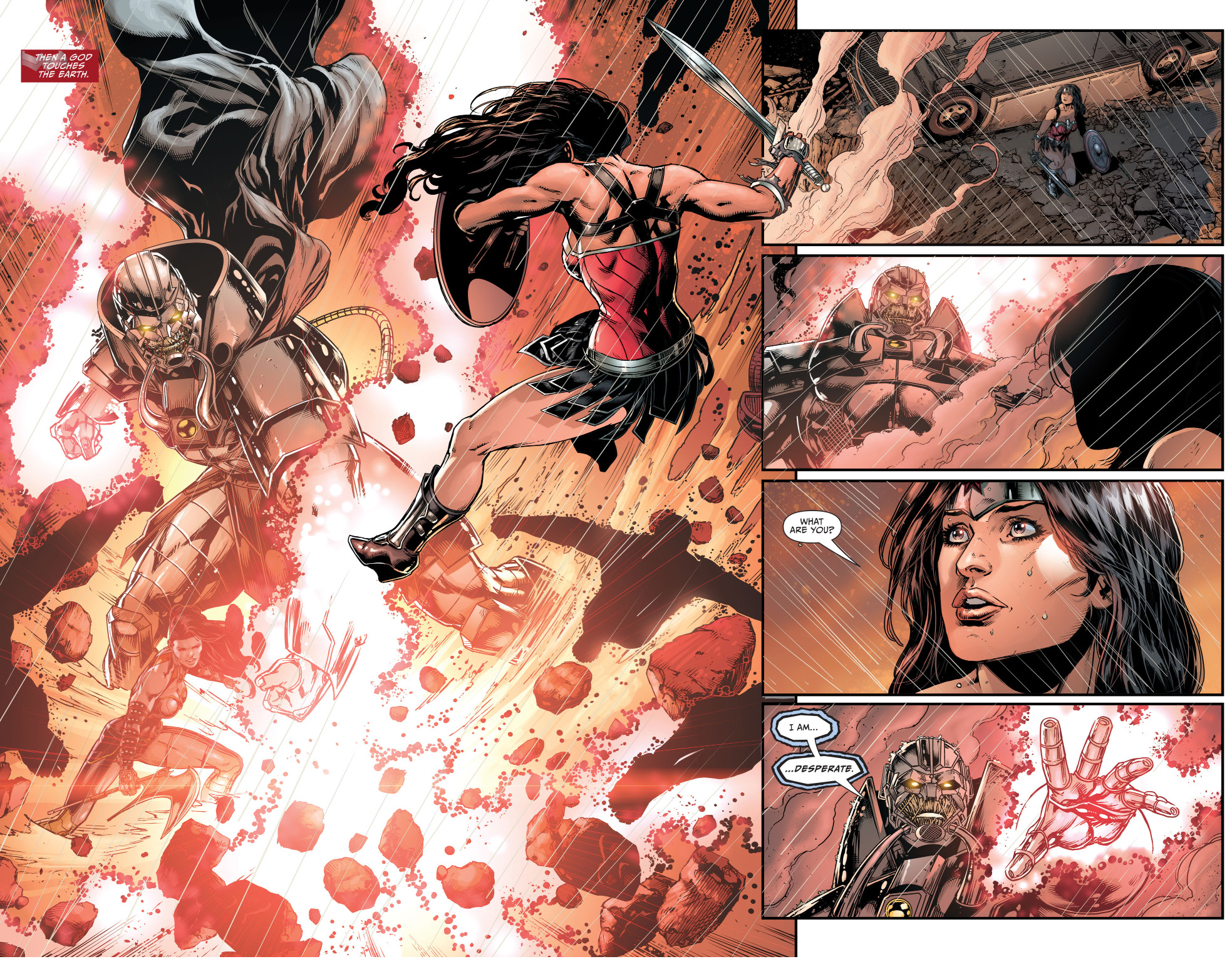 wonder woman's first meeting with the anti monitor (new 52)