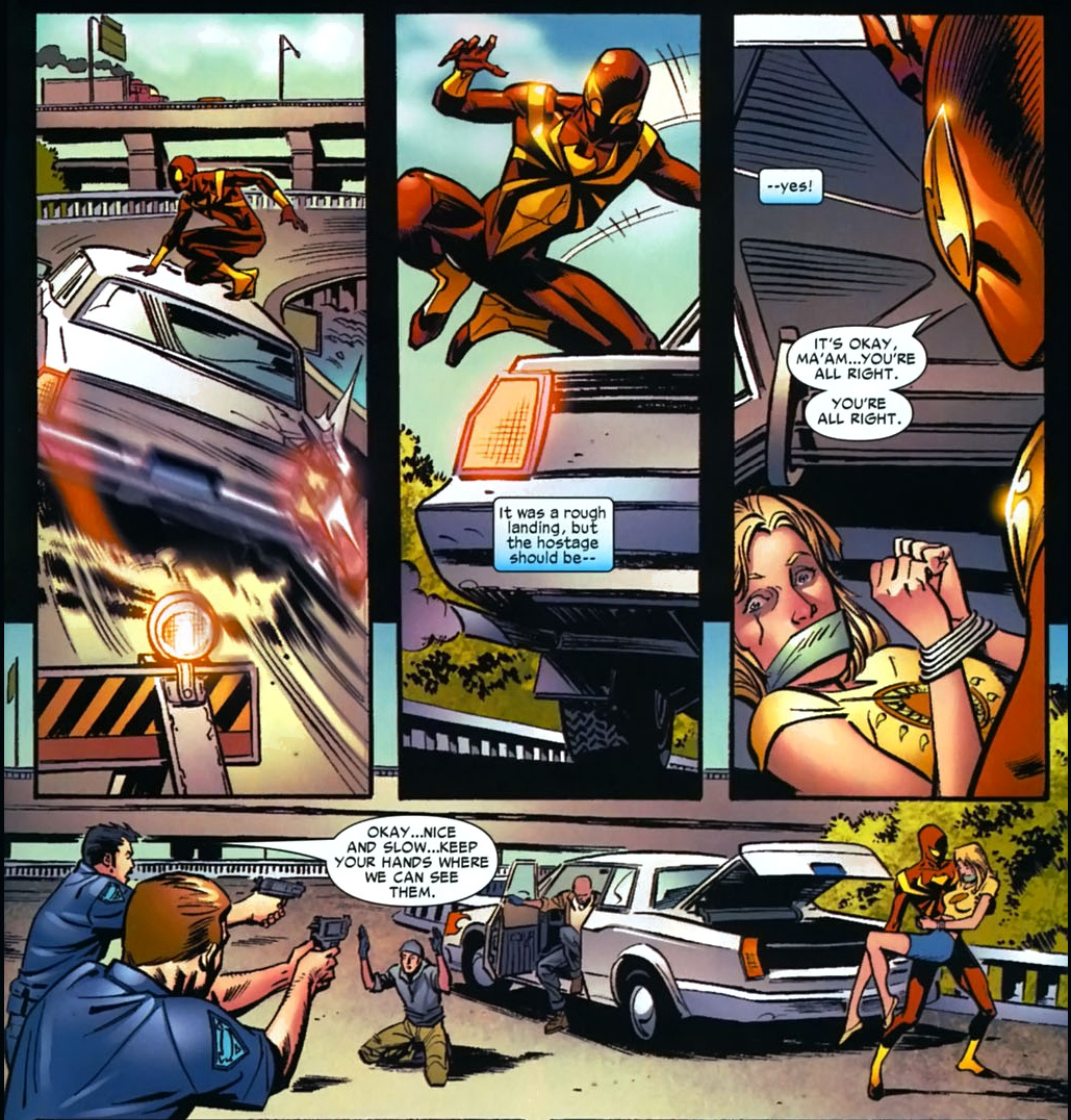 iron spidey stops a car chase