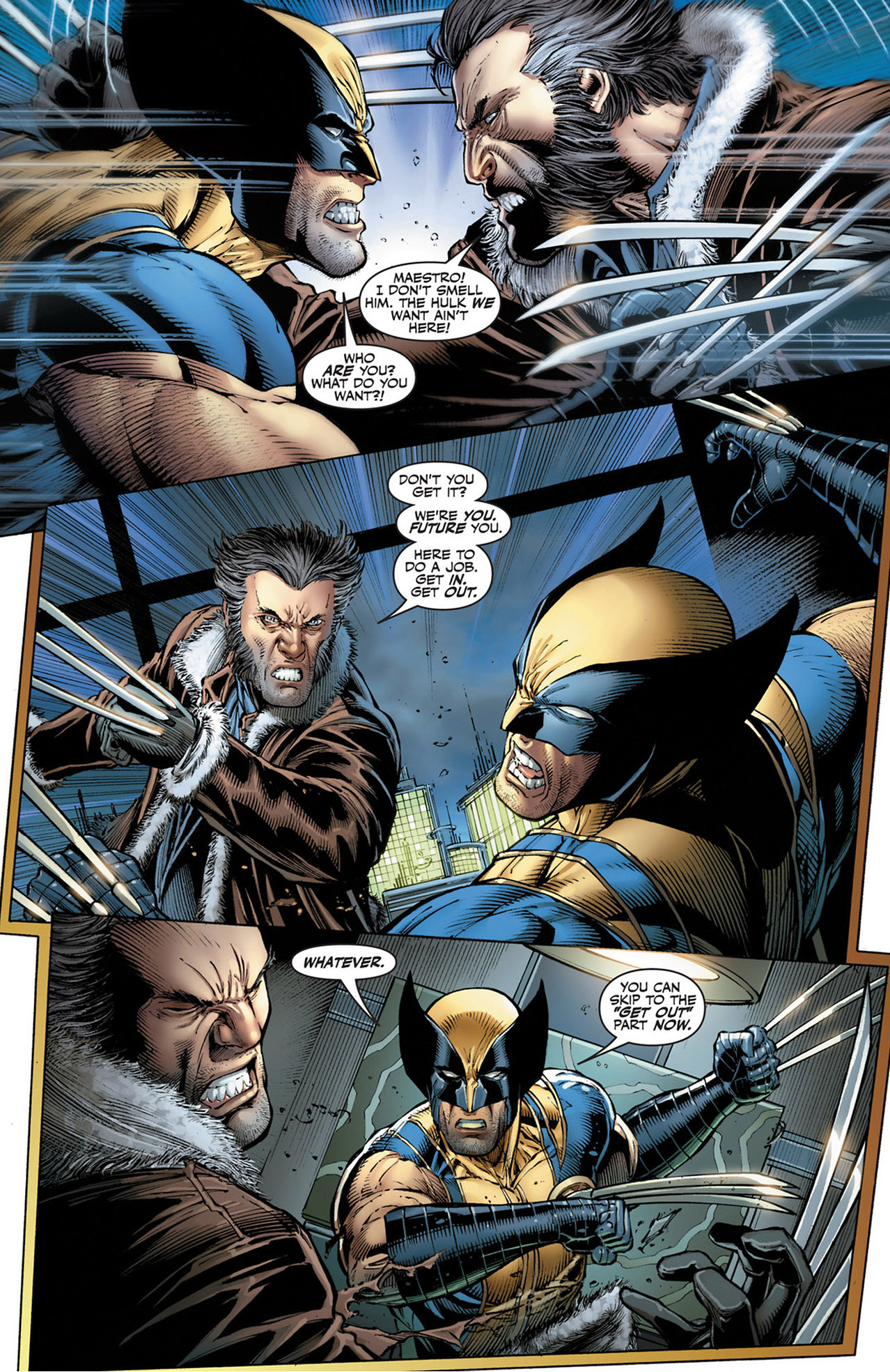 The Hulk and wolverine vs their future selves