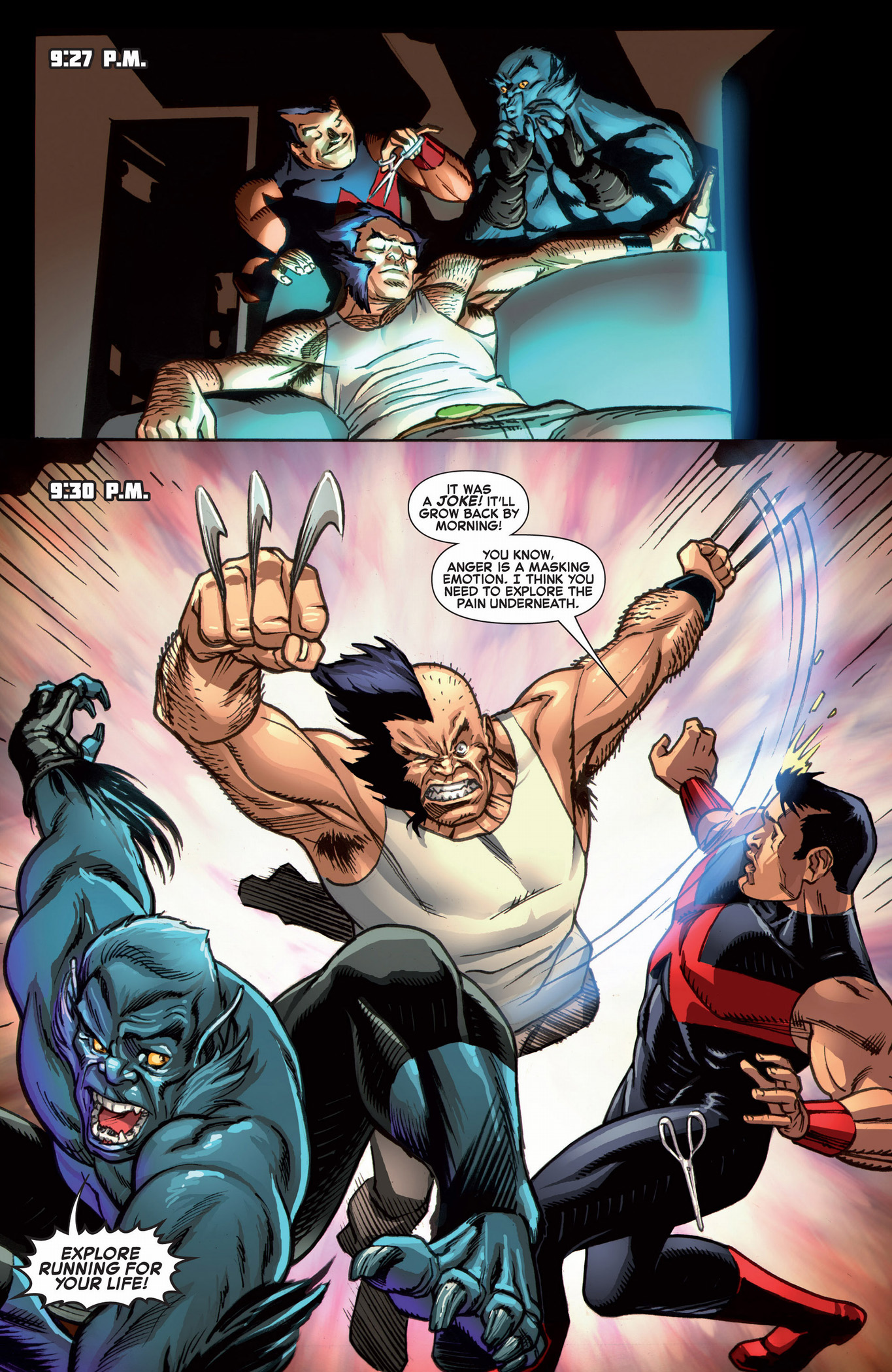 beast and wonder man gives wolverine a haircut