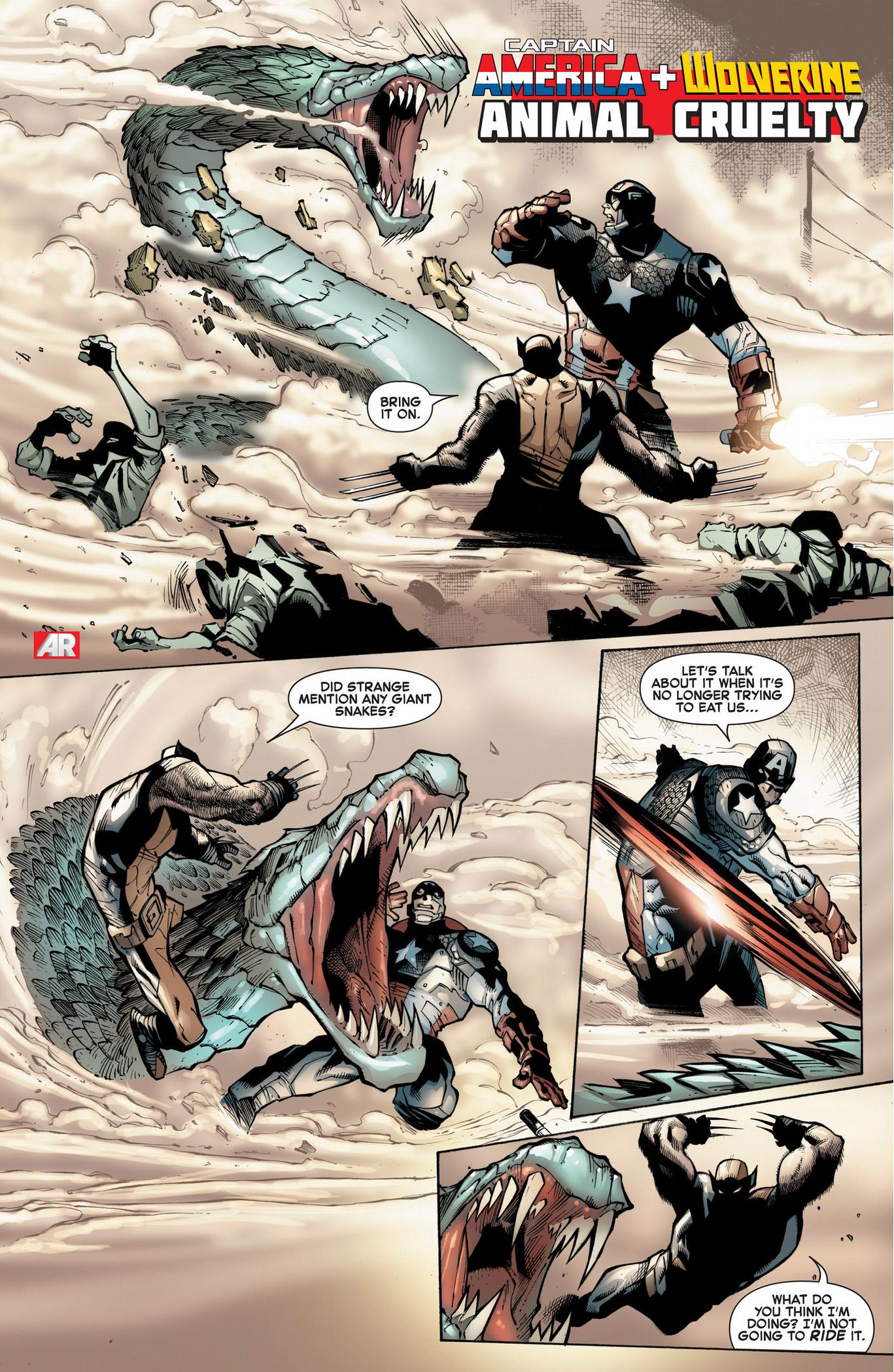 captain america and wolverine vs giant snake
