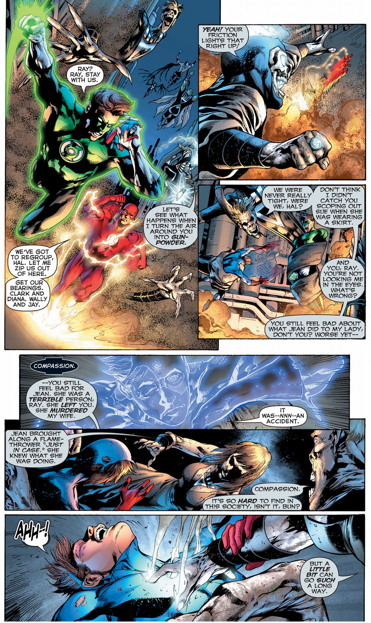green lantern, the atom and the flash vs black lantern justice league