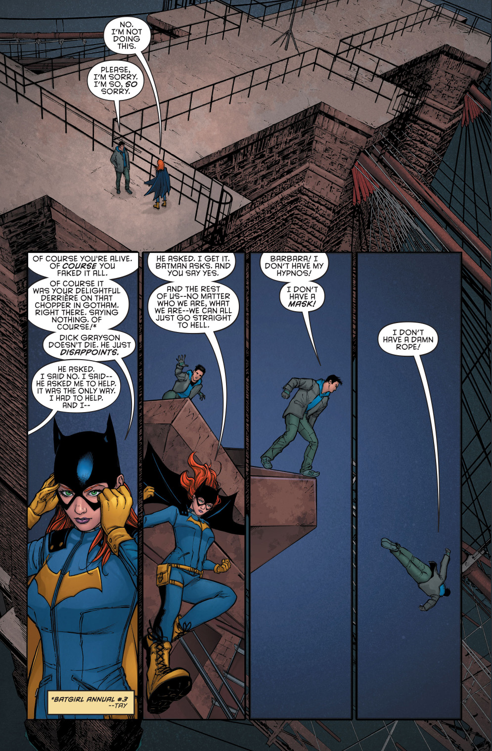 nightwing reveals his fake death to batgirl