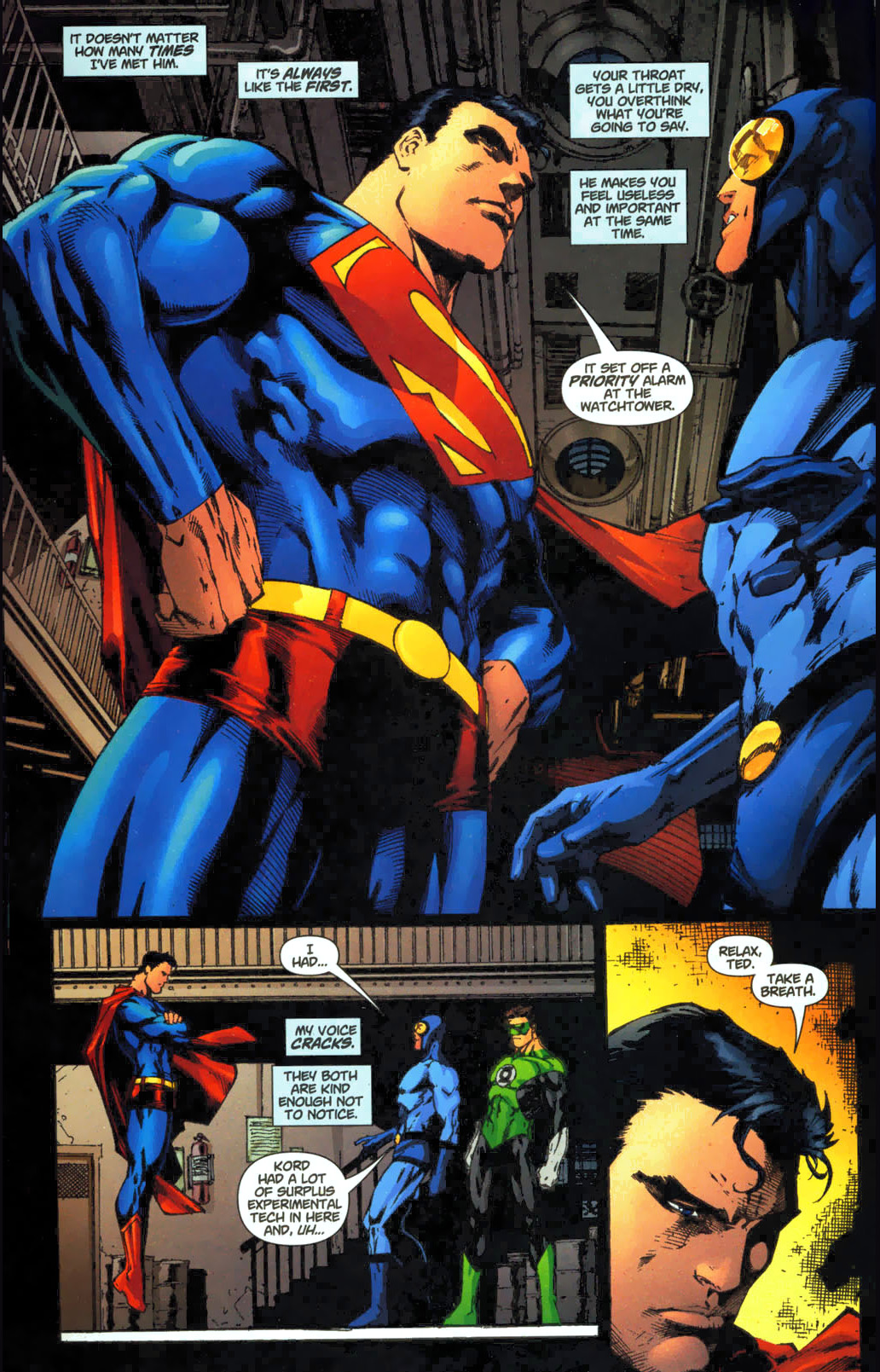 blue beetle on meeting superman