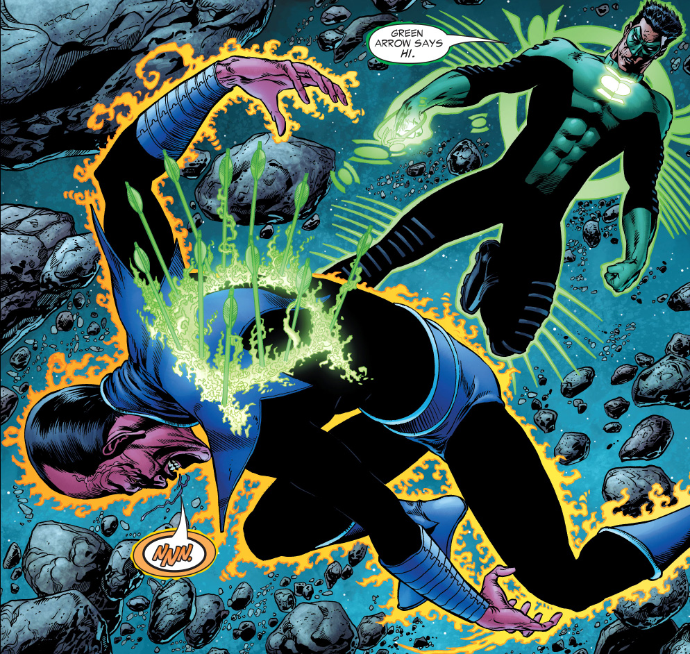 kyle rayner shoots sinestro in the back with arrows