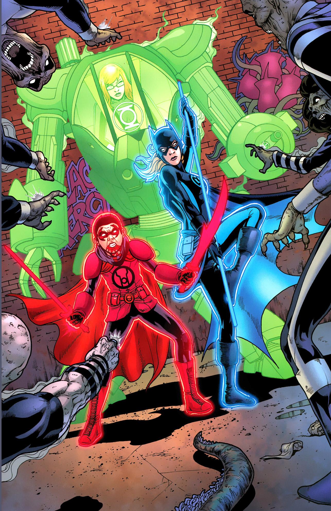 oracle, robin and batgirl wearing power rings