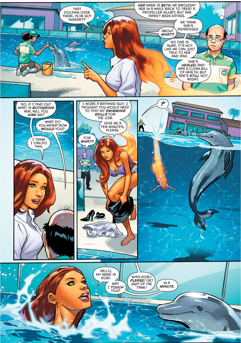 starfire helps out a dolphin