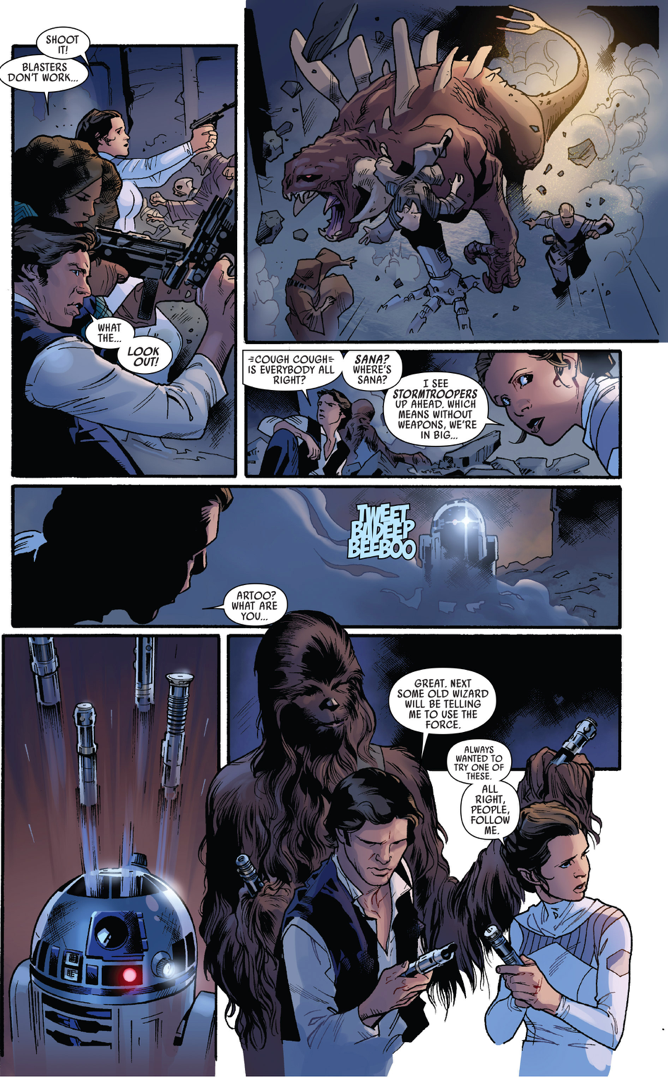 Han Solo, Princess Leia And Chewbacca Wielding Lightsabers