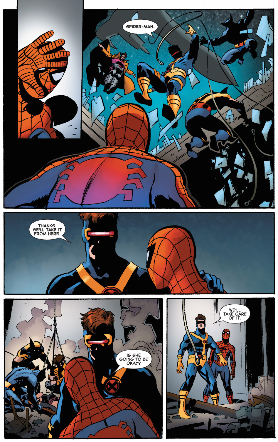 spider-man comforts a dying psylocke