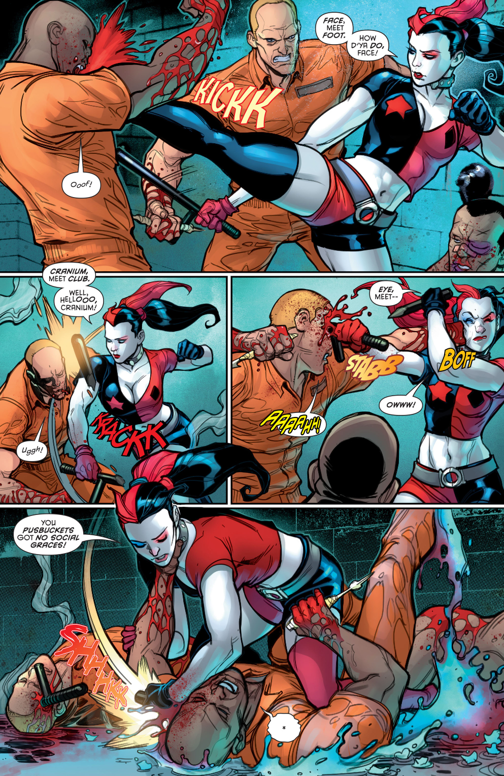 harley quinn in a prison fight