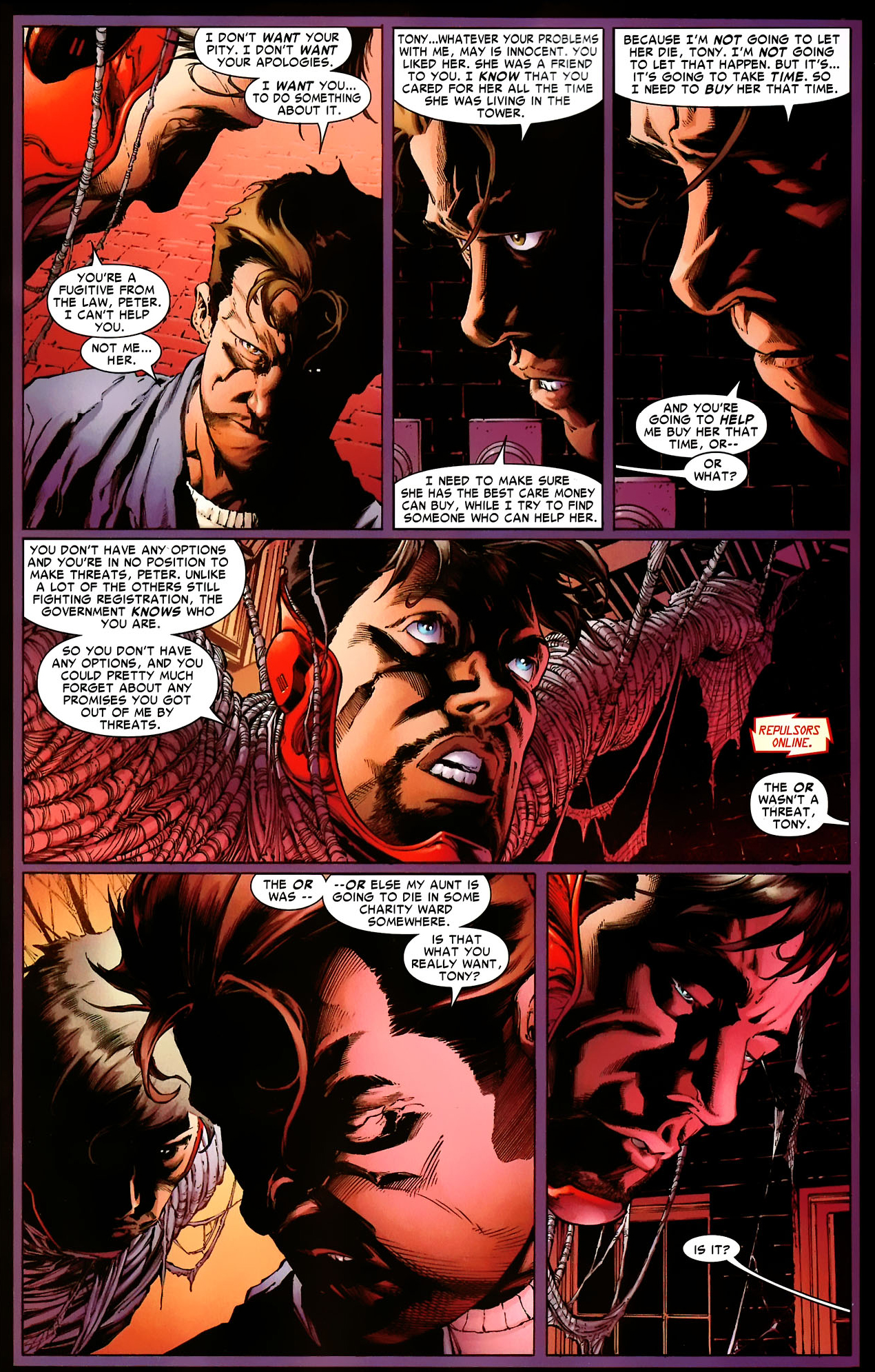 peter parker blames iron man for aunt may's injury